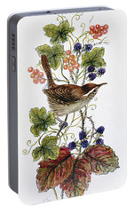 Wren On A Spray Of Berries Portable Battery Charger by Nell Hill