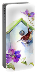 Wren With Birdhouse And Clematis Portable Battery Charger