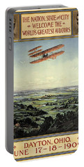 Wright Brothers - World's Greatest Aviators - Dayton, Ohio - Retro Travel Poster - Vintage Poster Portable Battery Charger