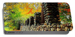 Wright Park Stone Wall In Fall Portable Battery Charger