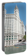 Wrigley Building Overlooking The Chicago River Portable Battery Charger