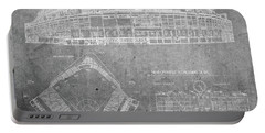Wrigley Field Chicago Illinois Baseball Stadium Blueprints Gray Portable Battery Charger