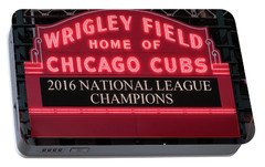 Wrigley Field Marquee Cubs Champs 2016 Front Portable Battery Charger by Steve Gadomski