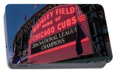 Wrigley Field Marquee Cubs National League Champs 2016 Portable Battery Charger by Steve Gadomski