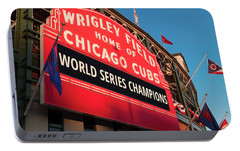 Wrigley Field World Series Marquee Angle Portable Battery Charger by Steve Gadomski