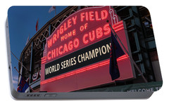 Wrigley Field World Series Marquee Portable Battery Charger by Steve Gadomski