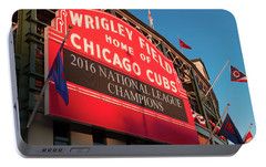 Wrigley Field Marquee Angle Portable Battery Charger by Steve Gadomski