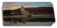 Wv State Capitol At Dusk Portable Battery Charger