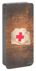 Ww2 Nurse Cap Lying On Wooden Floor Portable Battery Charger