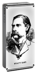 Portable Battery Charger featuring the mixed media Wyatt Earp Newspaper Portrait  1896 by Daniel Hagerman