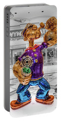 Wynn Popeye Statue Black White And Color By Jeff Koons Portable Battery Charger