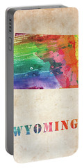 Wyoming Colorful Watercolor Map Portable Battery Charger