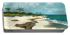 Portable Battery Charger featuring the painting Xcaret - Mexico - Beach by Anastasiya Malakhova
