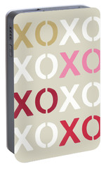 Portable Battery Charger featuring the mixed media Xoxo- Art By Linda Woods by Linda Woods