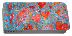 Portable Battery Charger featuring the painting Xoxo by Evelina Popilian