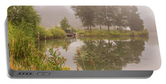 Misty Pond Bridge Reflection #5 Portable Battery Charger