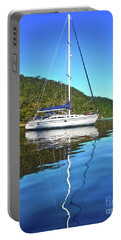 Portable Battery Charger featuring the photograph Yacht Reflecting By Kaye Menner by Kaye Menner
