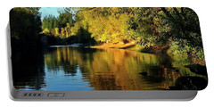 Portable Battery Charger featuring the photograph Yamhill River Reflections  5811 40x20 by Jerry Sodorff