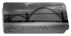Yaquina Bay Bridge Black And White Portable Battery Charger