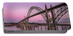 Yaquina Bay Bridge In Blue Light Portable Battery Charger