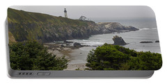 Yaquina Head Lighthouse View Portable Battery Charger by Mick Anderson