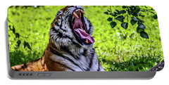 Yawning Tiger Portable Battery Charger by Joann Copeland-Paul