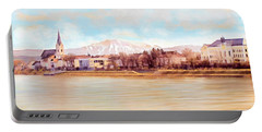 Portable Battery Charger featuring the painting Ybbs An Der Donau Mit Oetscher by Menega Sabidussi