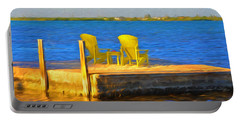Yellow Adirondack Chairs On Dock In Florida Keys Portable Battery Charger