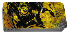Portable Battery Charger featuring the painting Yellow And Black Abstract Art by Ayse Deniz