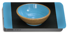 Yellow And Blue Ceramic Bowl Portable Battery Charger by Suzanne Gaff
