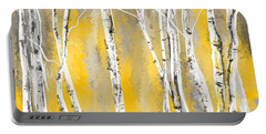 Yellow And Gray Birch Trees Portable Battery Charger