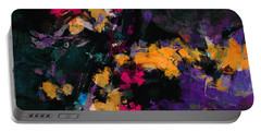 Portable Battery Charger featuring the painting Yellow And Purple Abstract / Modern Painting by Ayse Deniz
