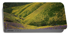 Yellow And Purple Wildlflowers Adourn The Temblor Range At Carrizo Plain National Monument Portable Battery Charger
