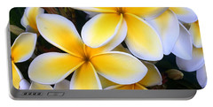 Yellow And White Plumeria Portable Battery Charger