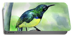 Portable Battery Charger featuring the painting Yellow Bellied Sunbird by Dora Hathazi Mendes