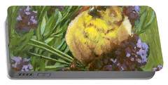 Portable Battery Charger featuring the painting Yellow Bird by Karen Ilari