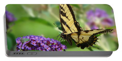 Yellow Butterfly On Purple Portable Battery Charger