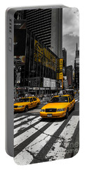 Yellow Cabs Cruisin On The Times Square  Portable Battery Charger