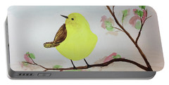 Yellow Chickadee On A Branch Portable Battery Charger