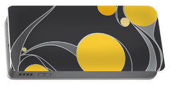 Portable Battery Charger featuring the digital art Yellow Circles Abstract Design by Patricia Awapara
