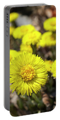 Portable Battery Charger featuring the photograph Yellow Coltsfoot Flowers by Christina Rollo