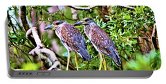 Yellow Crested Night Herons Portable Battery Charger by James Potts