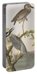 Yellow Crowned Heron Portable Battery Charger by John James Audubon