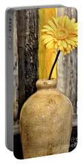 Yellow Daisy In Pottery Portable Battery Charger