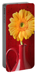 Yellow Daisy In Red Vase Portable Battery Charger