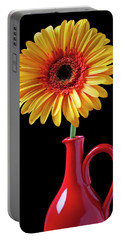 Yellow Fancy Daisy In Red Vase Portable Battery Charger