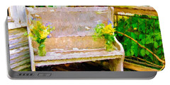 Yellow Flowers On Porch Bench Portable Battery Charger