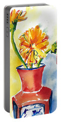 Yellow Gerbera Daisies In A Red And Blue Delft Vase Portable Battery Charger