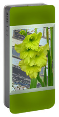 Portable Battery Charger featuring the pyrography Yellow Gladiolas by Elly Potamianos