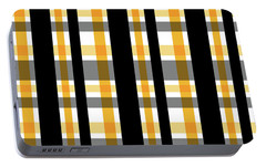 Portable Battery Charger featuring the photograph Yellow Gold And Black Plaid Striped Pattern Vrsn 1 by Shelley Neff